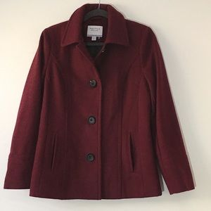 Nautica  Burgundy Pea Coat Jacket Wool Blend